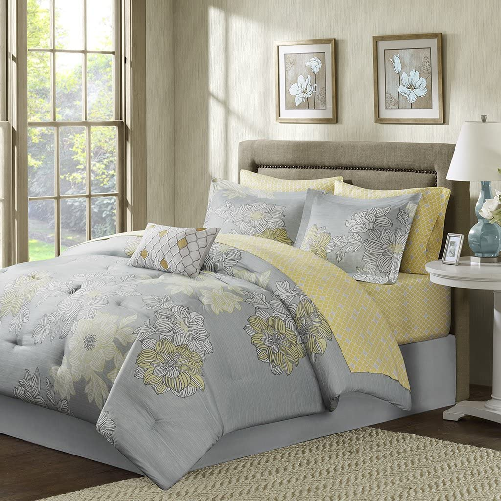 Madison Park Essentials Avalon Full Size Bed Comforter Set Bed in A Bag - Grey, Yellow, Floral – 9 Pieces Bedding Sets – Ultra Soft Microfiber Bedroom Comforters