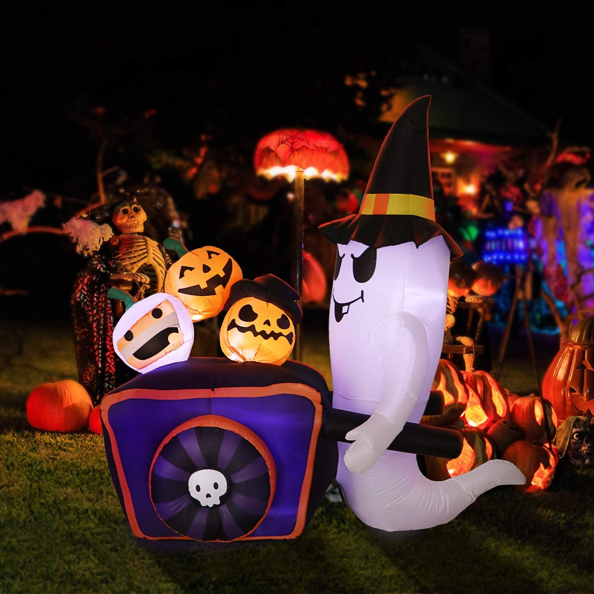 Halloween Inflatable Ghost, Lighted Inflatable Ghost with Pumpkin Cart for Home Garden Yard Lawn Halloween Decoration