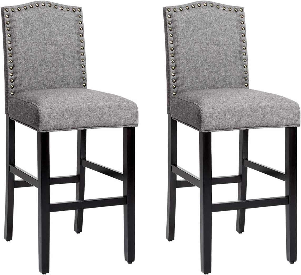 COSTWAY Bar Stools Set of 2, Counter Height Dining Side Barstools, w Thick Cushion, Linen Surface, Nailhead Trim, Rubber Wood Legs, High Leisure Chairs for Living Room, Kitchen, Dining Room, Gray