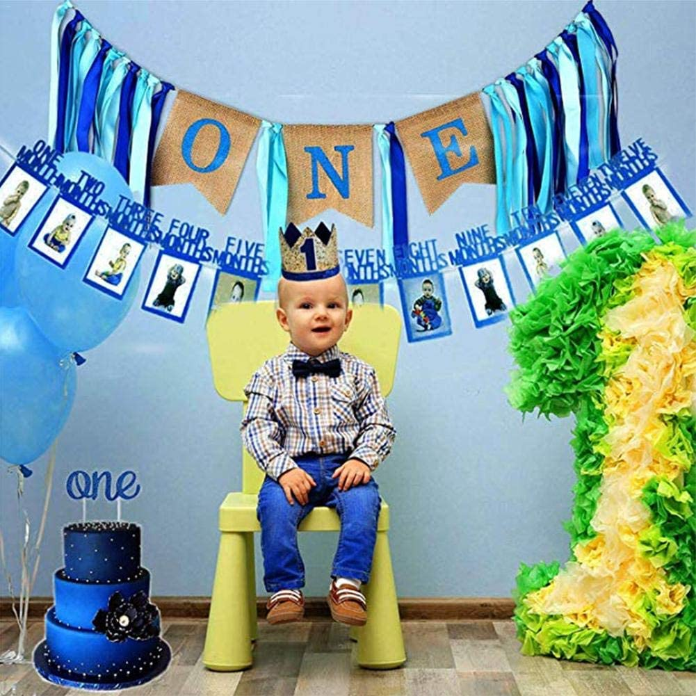 Ecisi Baby 1st Birthday Boy Girl Decorations con Crown Cake Smash Party Supplies Baby Boy First Birthday Decorations Banner de Silla Alta Boy Girls First Decor Party Supplies Set