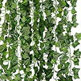 Lystaii 12pcs 2M Ivy Leaves Garland Artificial Plants Fake Green Leaves Hanging Vine Wedding Party Garden Patio Office Wall Decoration
