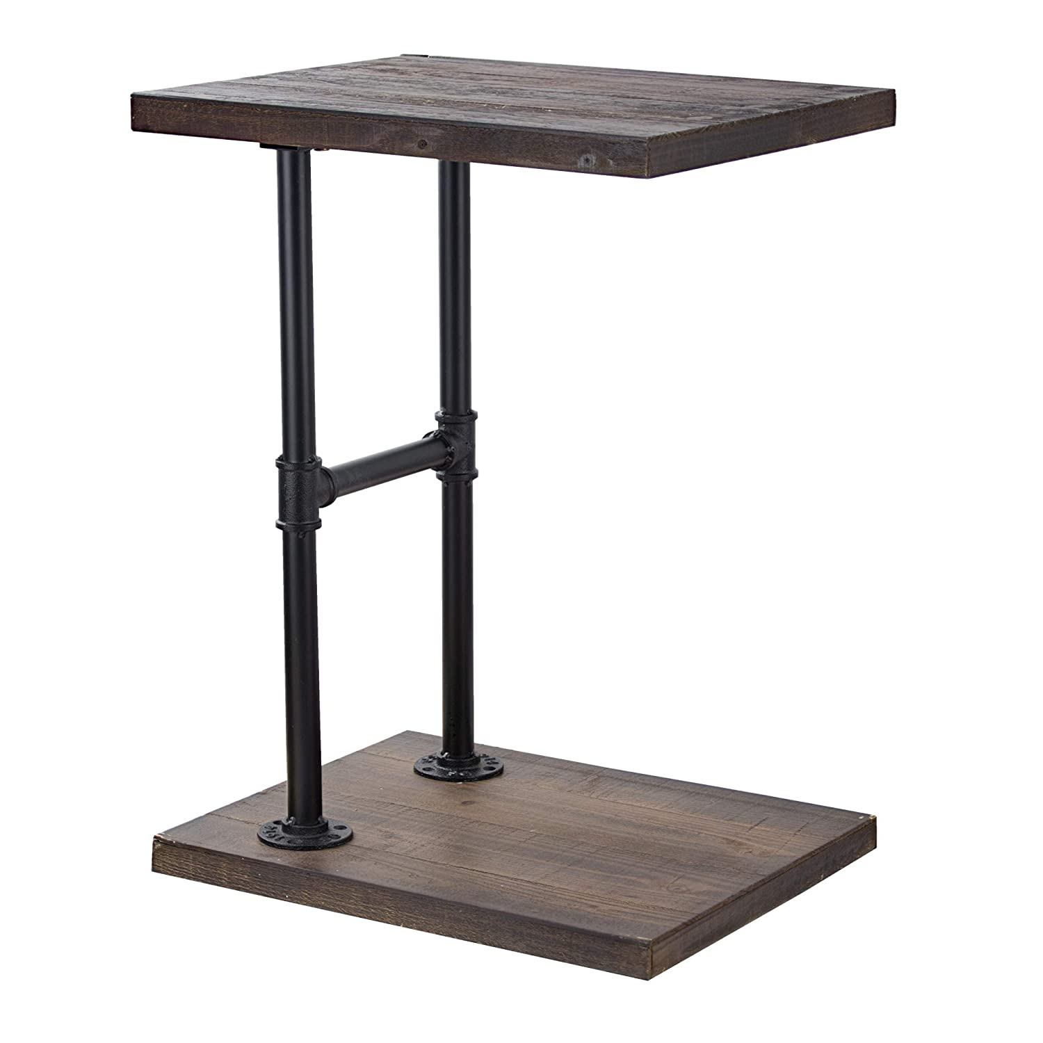 American Art Decor Wood and Metal C Style End Side Accent Bedside Table – Farmhouse Decor Furniture