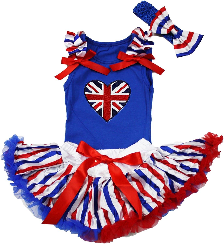 Petitebella British Heart Blue Shirt RWB Striped Skirt Outfit 3-12m