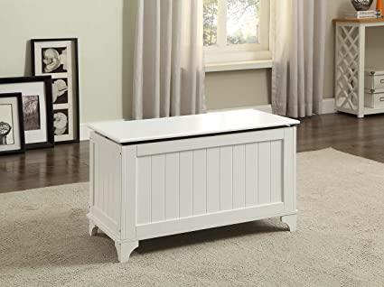 White Finish Toy Blanket Storage Chest Trunk Box Bench & Amazon.com: White Finish Toy Blanket Storage Chest Trunk Box Bench ...