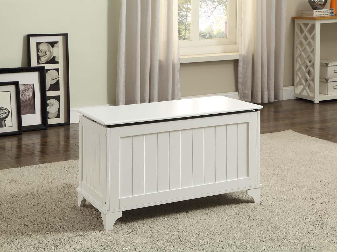 White Finish Toy Blanket Storage Chest Trunk Box Bench