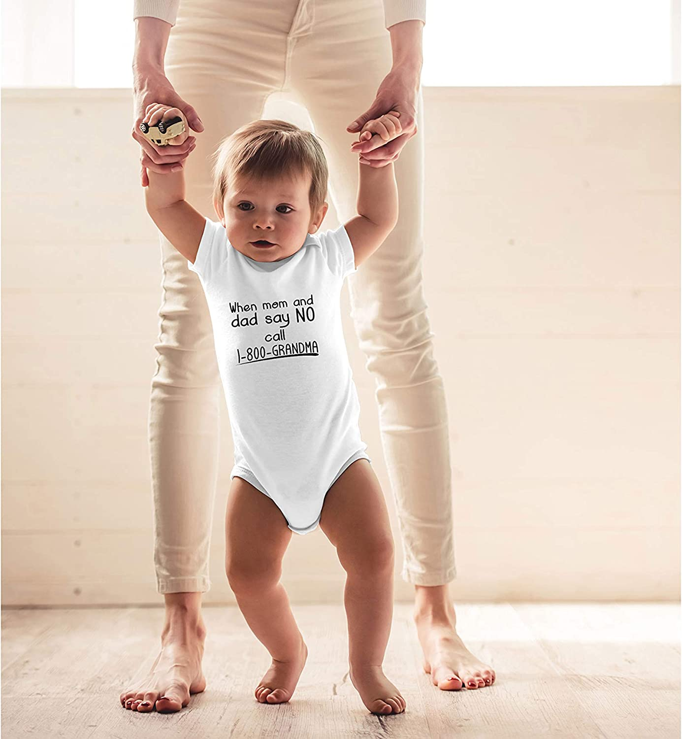 When Mom and Dad Say No Call 1800 Grandma Funny Gift for Nephew Niece Unisex Baby Bodysuit