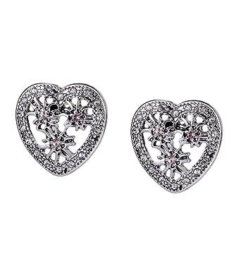 Damen Silber Farbe Ohrstecker Strass Kristall Perle Herz Ohrringe Ohr Schmuck