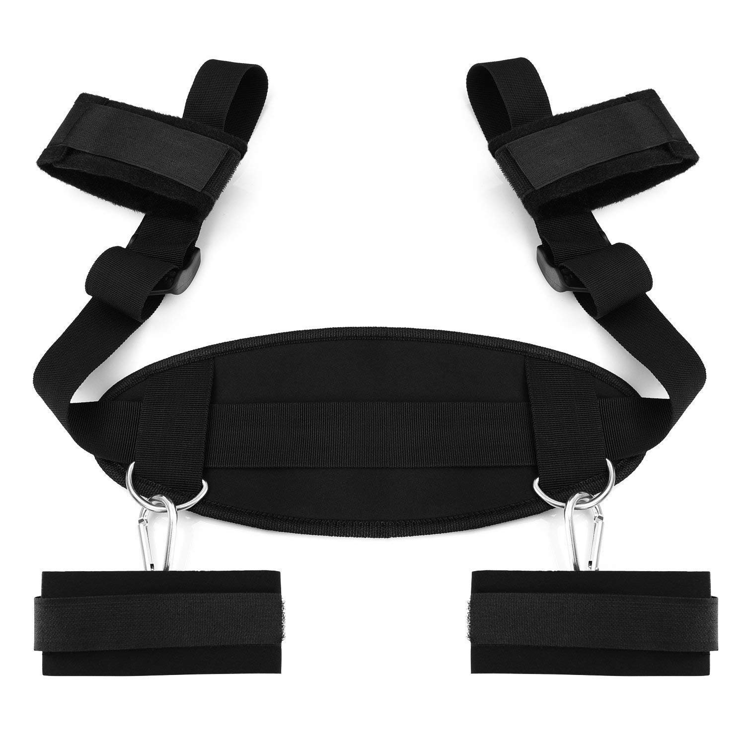 Freefeet Bed Restraints System with Adjustable Cuffs for Wrist & Ankle Black Bondage Straps for Female Male Couples