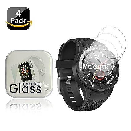 Ycloud [4-Unidades Protector de Pantalla de Vidrio Templado para Huawei Watch 2 (Bluetooth) Smartwatch Alta Definicion 9H Dureza Anti-Explosion