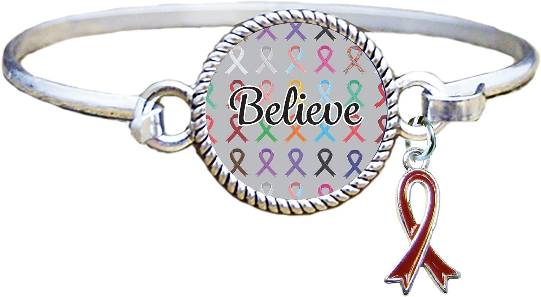 Believe Ribbon Silver Cuff...