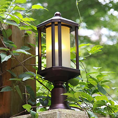KMYX Lámparas de pilar de metal tradicional Lámpara de jardín al aire libre poste IP44 Linterna