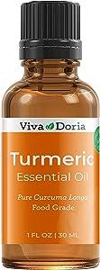 Viva Doria 100% Pure Turmeric Essential Oil, Undiluted, Food Grade, Turmeric Oil, 1 Fluid Ounce (30 mL) Natural Aromatherapy Oil