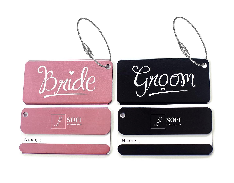 Amazon.com: Elegant Bride Groom Luggage Tags for Wedding Gift ...