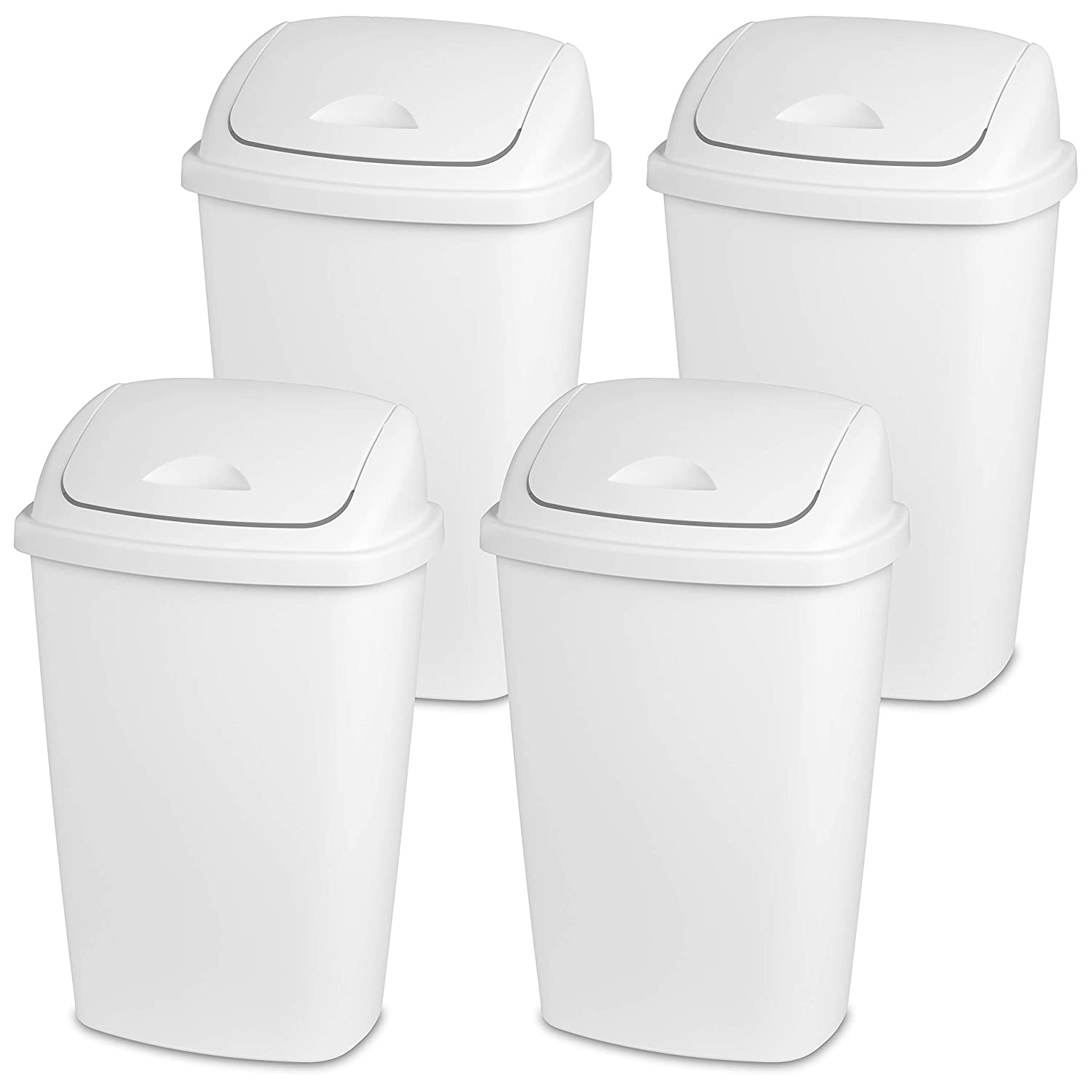 Sterilite 10888004 13.2 Gallon/50 Liter SwingTop Wastebasket, White, 4-Pack