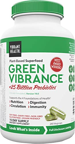Vibrant Health, Green Vibrance, Vegetarian Superfood Capsules with Over 70 Ingredients, 25 Billion Probiotics, 240 Capsules 15 Servings FFP