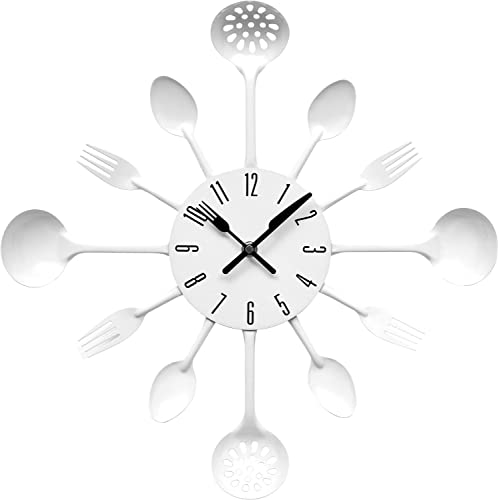 Premier Housewares White Cutlery Wall Clock