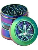 "Herb Grinder Rainbow Color 4 Parts 2.5"" Zinc Alloy Spice Herb Grinder (Large)"