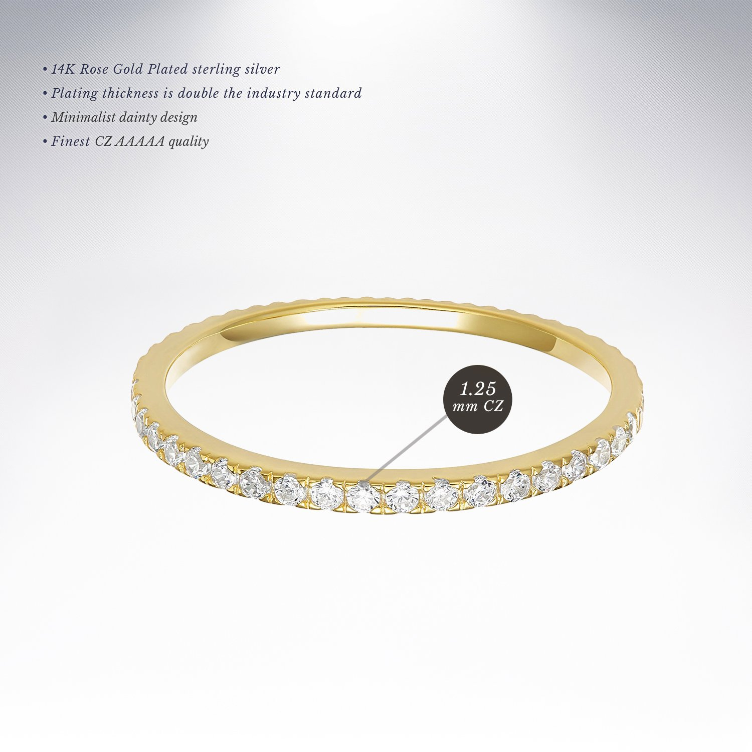PAVOI AAAAA CZ 14K YELLOW GOLD Plated Silver Cubic Zirconia Stackable Eternity Ring - Size 5 by PAVOI (Image #3)