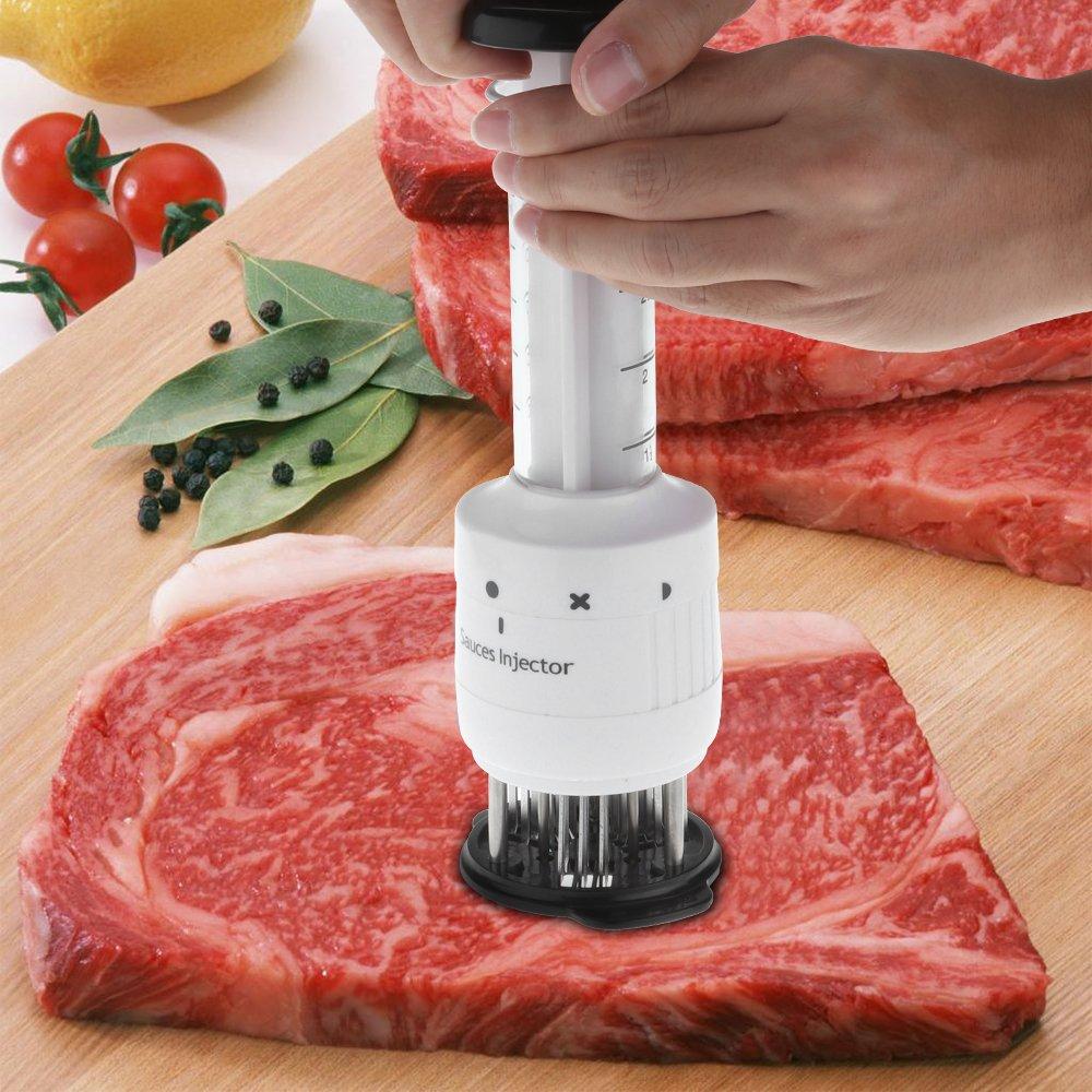 DDSKY 2 in 1 Meat Tenderizer Meat Tenderizer//Sauces Injector//Tenderizer Injector//Meat Injector and 30 Ultra Sharp Stainless Steel Needles 3 Injection Needle Pinhole