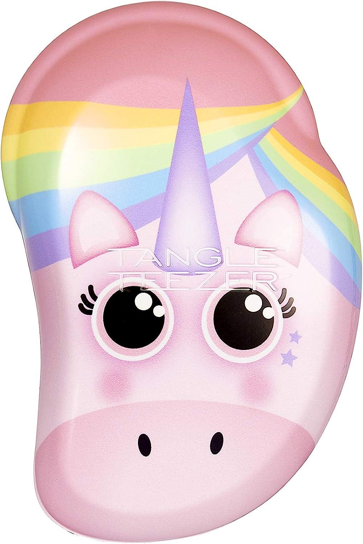 Tangle Teezer The Mini - Cepillo desenredante original para desenredar el pelo, diseño de unicornio arcoíris