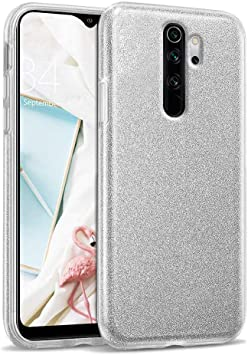 """Image ofCoovertify Funda Purpurina Brillante Plateada Xiaomi Redmi Note 8 Pro, Carcasa Resistente de Gel Silicona con Brillo Gris Plata para Xiaomi Redmi Note 8 Pro (6,53"""")"""