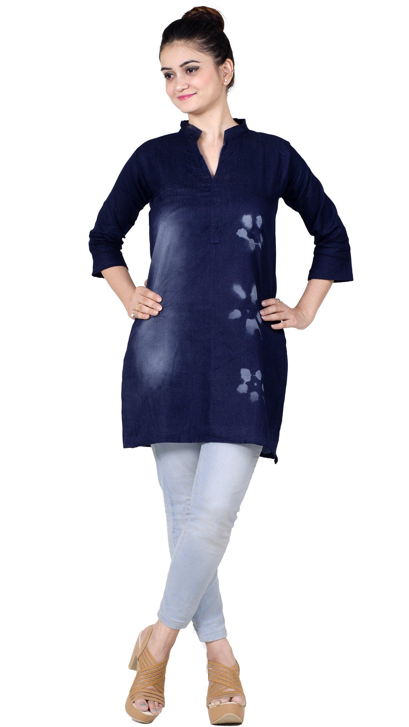 Chandrakala Women's Denim Tunic Top 3/4th Sleeves Short Kurti Kurta(K116NAV2)