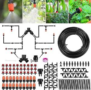 Aiglam Garden Irrigation System 98FT/30M Drip Irrigation Kit,1/4