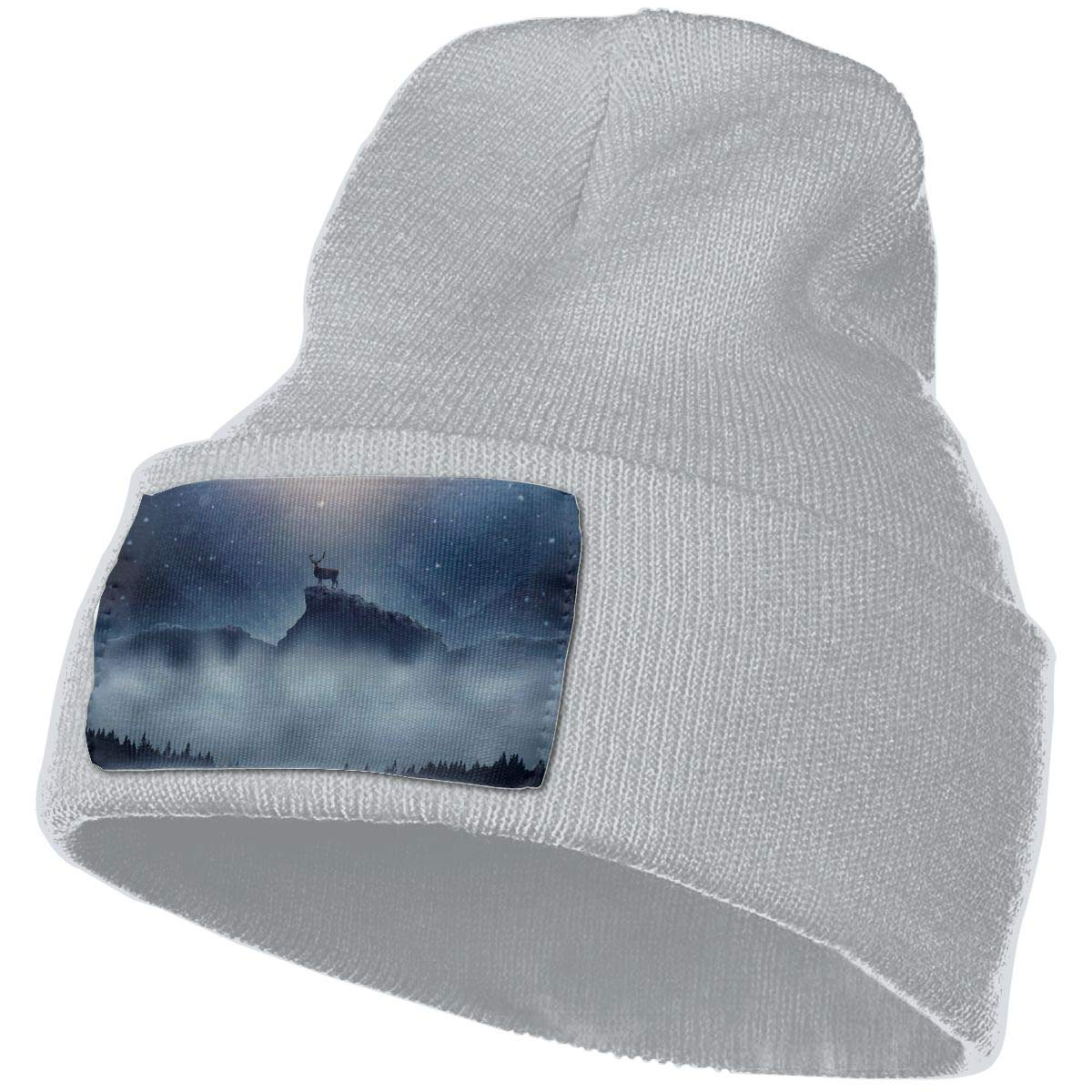 Yubb7E Deer-Snowfall Warm Knit Winter Solid Beanie Hat Unisex Skull Cap