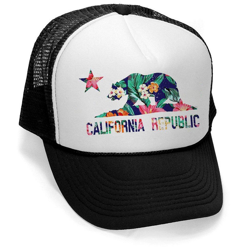 Men s Tropical Floral California Republic Flag Hat PLY B401 Black White  Trucker Hat One Size at Amazon Men s Clothing store  672eb857e12