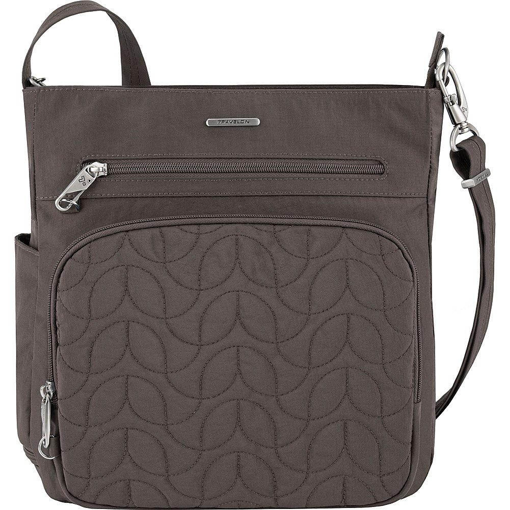 Travelon Anti-Theft Quilted North South Bag - Medium Nylon Crossbody for Travel & Everyday - (Smoke/Teal Interior)