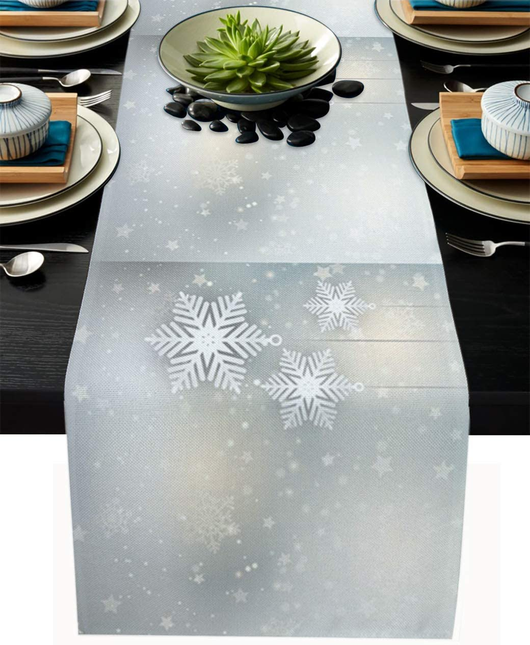 Libaoge Table Runner Washable Heat-Insulating Christmas Snowflake Star White Snow Winter Theme for Kitchen Dining Table Coffee Table Outdoor Party Decor 13x90in(33x229cm)