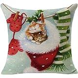 Christmas Pillow Case,Beautyvan Christmas Linen Square Throw Flax Pillow Case Decorative Cushion Pillow Cover (A)