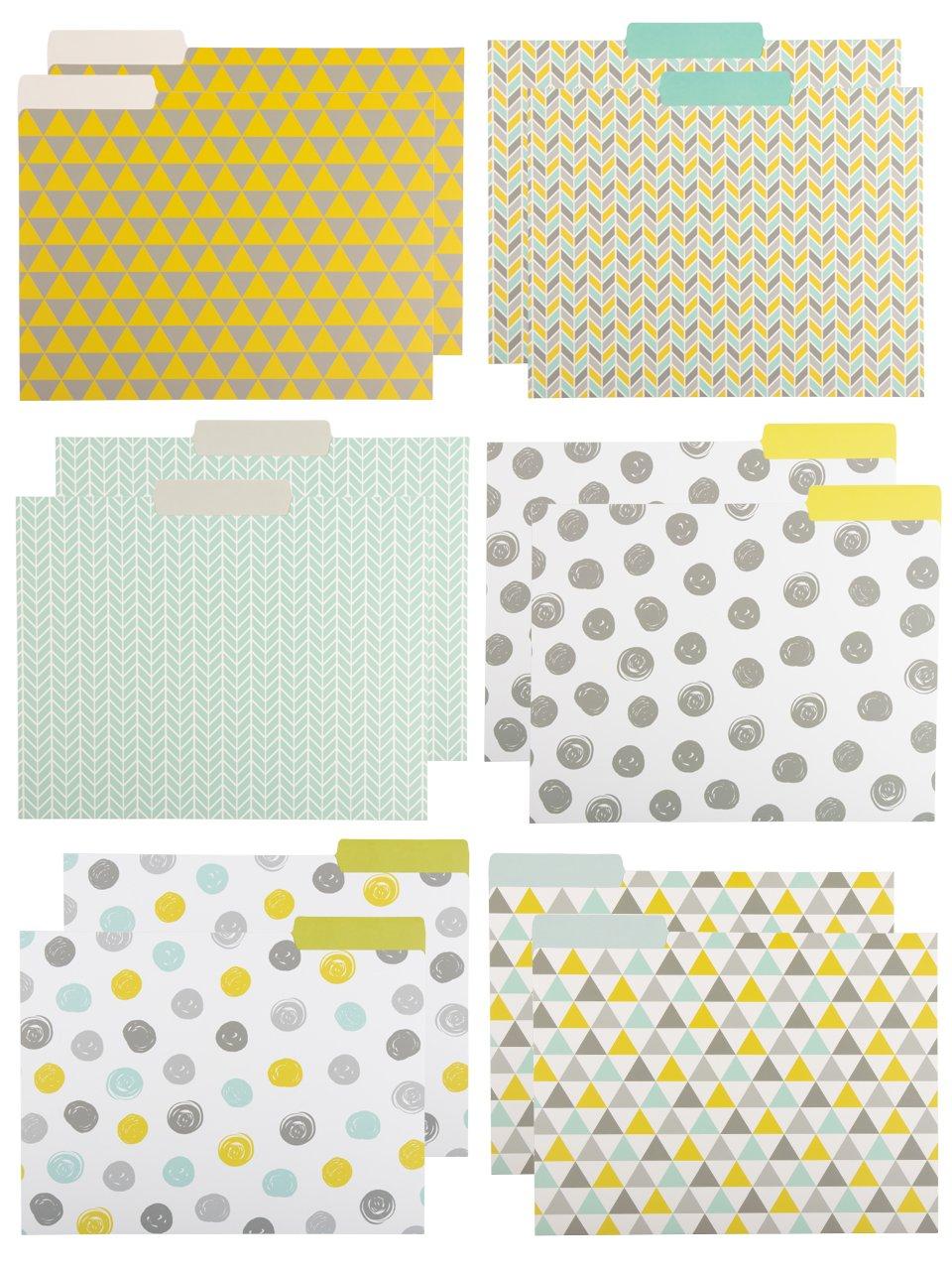 Paper Junkie File Folders - 12-Pack Decorative File Folders, 6 Geometric Colorful File Folders, Designer File Folders - Letter Size 1/3 Cut 1/2 inch Top Memory Tab, 11.5 x 9.5 inches