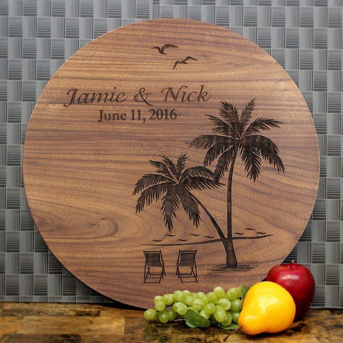 Custom Personalized Wood Sign Engagement Hardwood Sign Personalized Wedding Gift First Names Couples Gift, Destination Wedding, Bridal Shower Gift Anniversary Gift, Beach, Palm Trees. #409