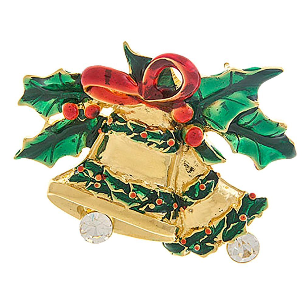ACCESSORIESFOREVER Christmas Jewelry Crystal Rhinestone Jingle Bell Fashion Brooch Pin BH203 Gold