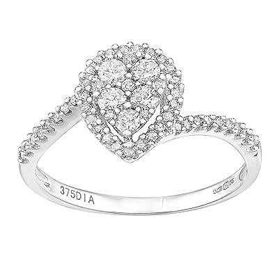 Naava 9ct White Gold Round 0.25ct Halo Diamond Engagement Ring mSFRxRJaW