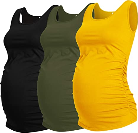 Smallshow Womens Maternity Tank Tops Sleeveless Ruched Pregnancy Clothes 3-Pack