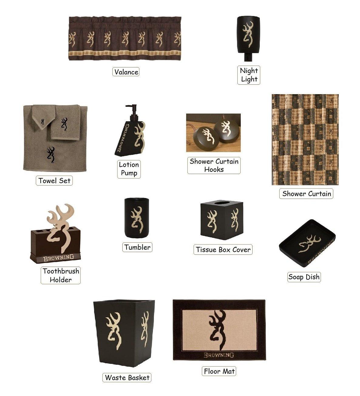 Browning Country Buckmark 25 Piece Bathroom Decor Accessories Set