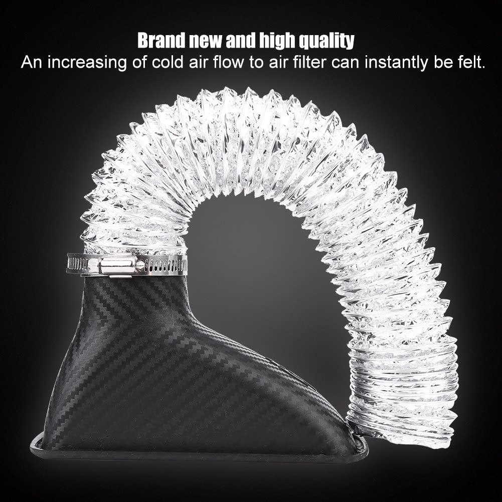 Silver Black Qiilu Turbo Air Intake Pipe Carbon Fiber Universal Car Turbo Inlet Pipe Air Funnel ABS FlexibleTurbo Inlet Pipe Kit for Most Vehicles