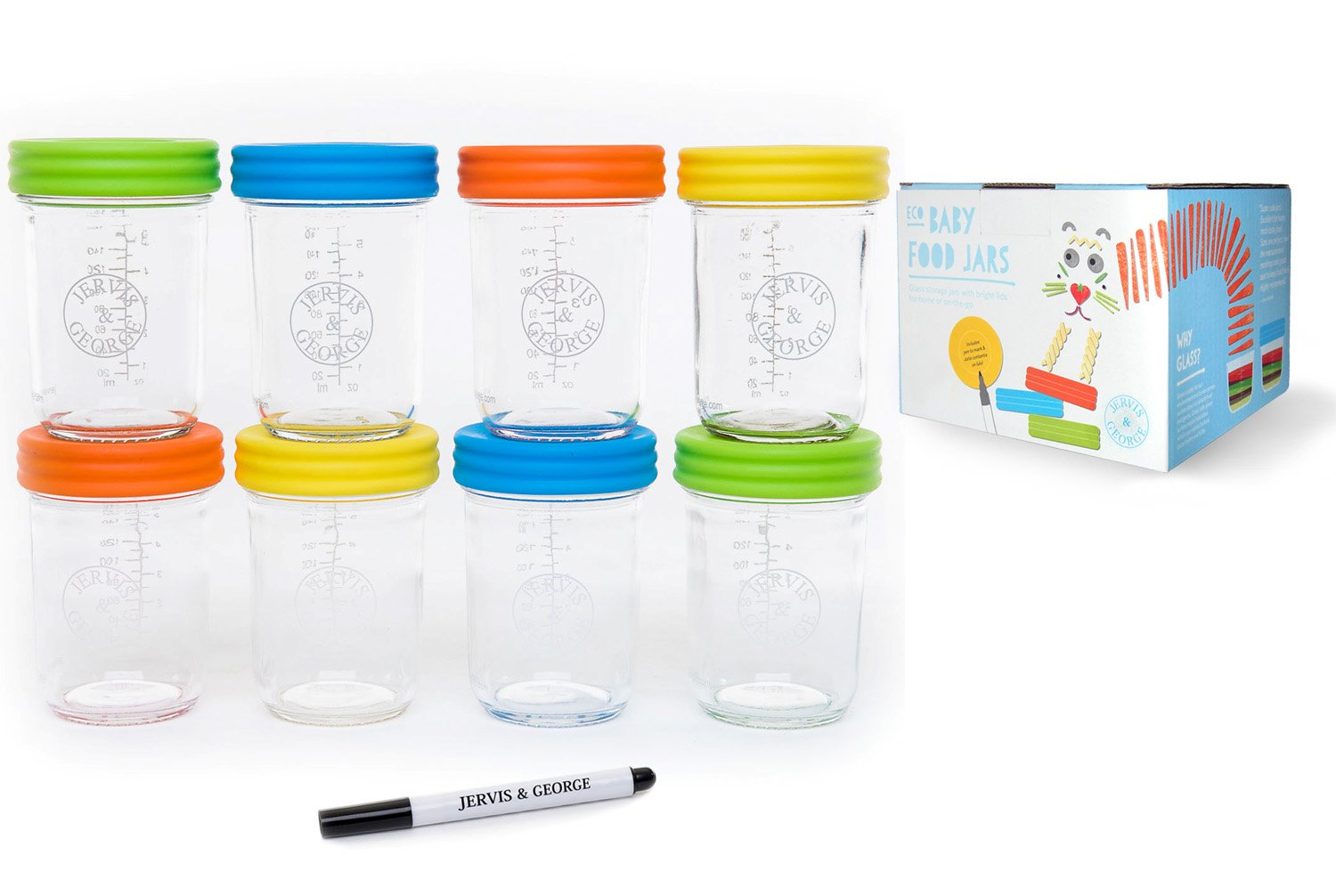 Glass Baby Food Storage Containers - Set contains 2 Small Reusable 8oz Jars with Airtight Lids - Safely Freeze your Homemade Baby Food Jervis & George