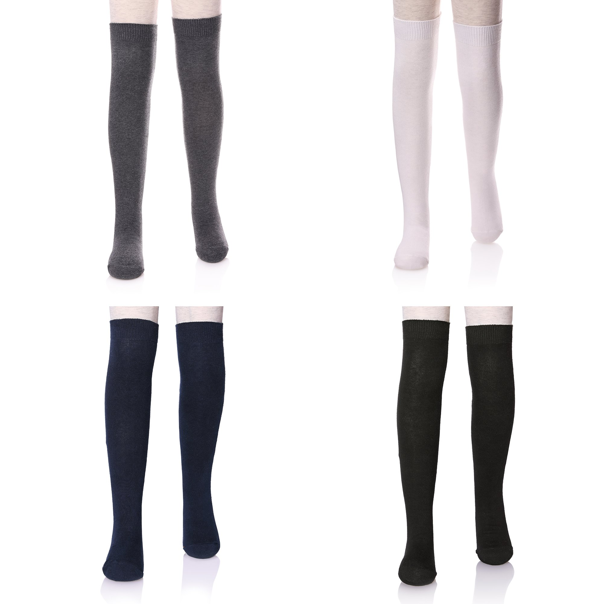 LANLEO 3/4 Pairs Girls School Uniform Over Knee High Warm Cotton Socks 3-11 Years Old (4 Color L)
