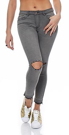 95335156ccf0 SKUTARI Luxus Damen Destroyed Designer Nieten Biker Jeans Skinny Stretch  Röhrenjeans Fransen Abschluss, (Farbe
