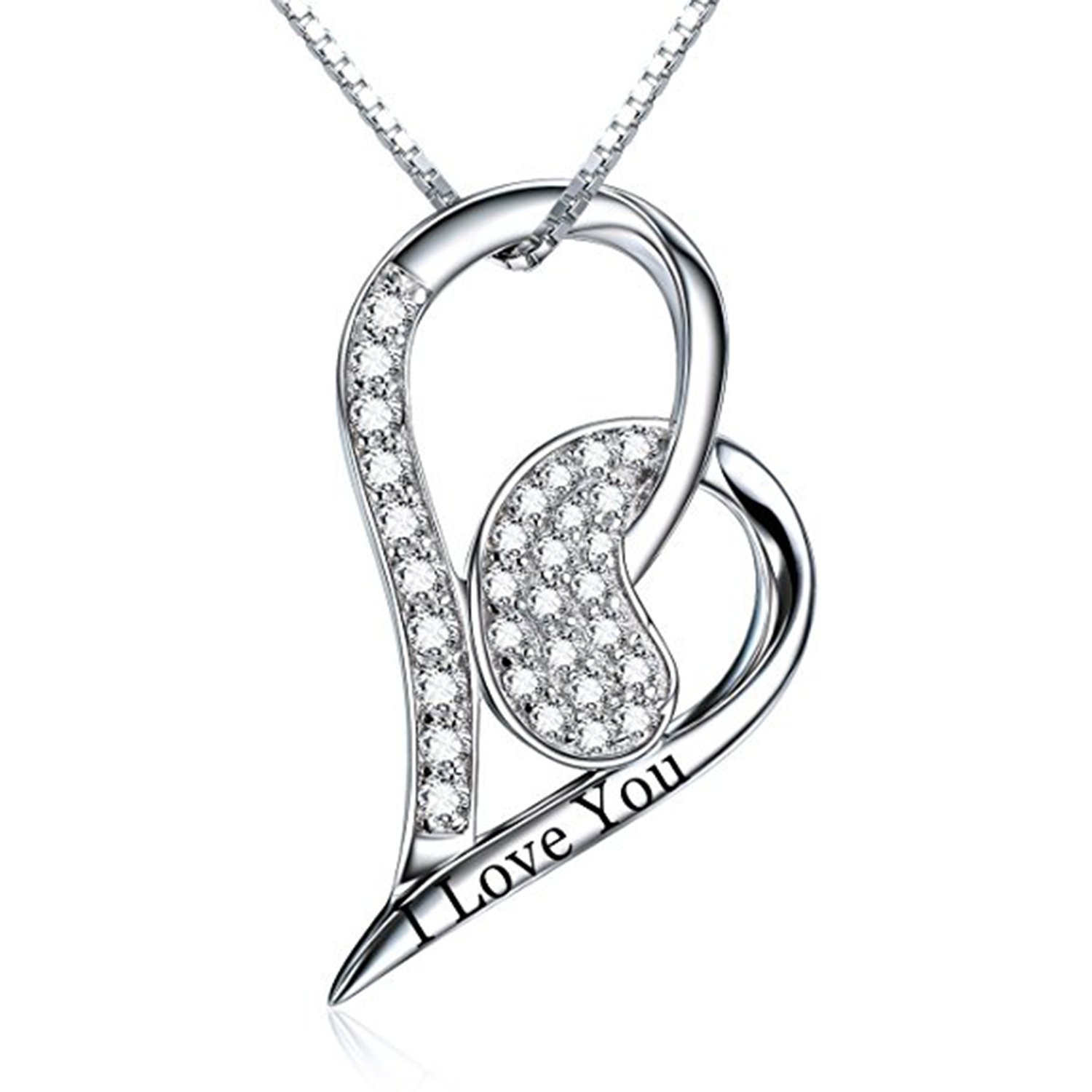 Simulated Diamond Studded Fashion Promise Love Heart Pendant Necklace in 14K White Gold Plated With Box Chain