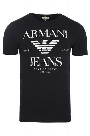 Armani Jeans Logo Graphic Shirt Herren T-Shirt Freizeitshirt Schwarz UGH22  12 Black, Größenauswahl 3e68c7425f