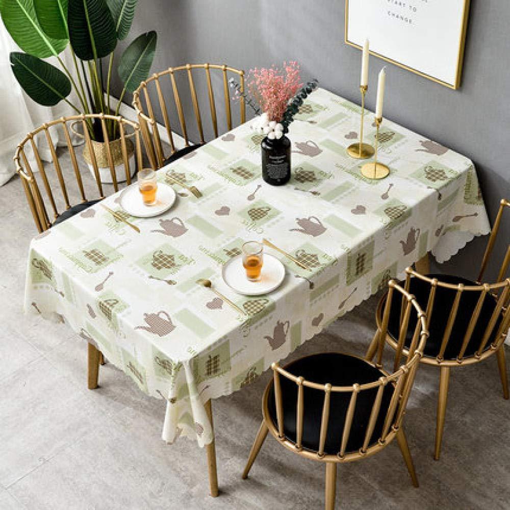 WJJYTX Wachstuch tischdecke, quadratische abwischbare Tischdecke Rechteckige wasserdichte Vinyl-PVC-Tischdecke für die Gartenküche Außen- oder Innenteekanne Beige @ 120 * 180