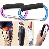 Large Stroller Hooks for Mommy, 2 pcs Carabiner Stroller Hook Organizer for Hanging Purses, Diaper Bag, Shopping Bags…
