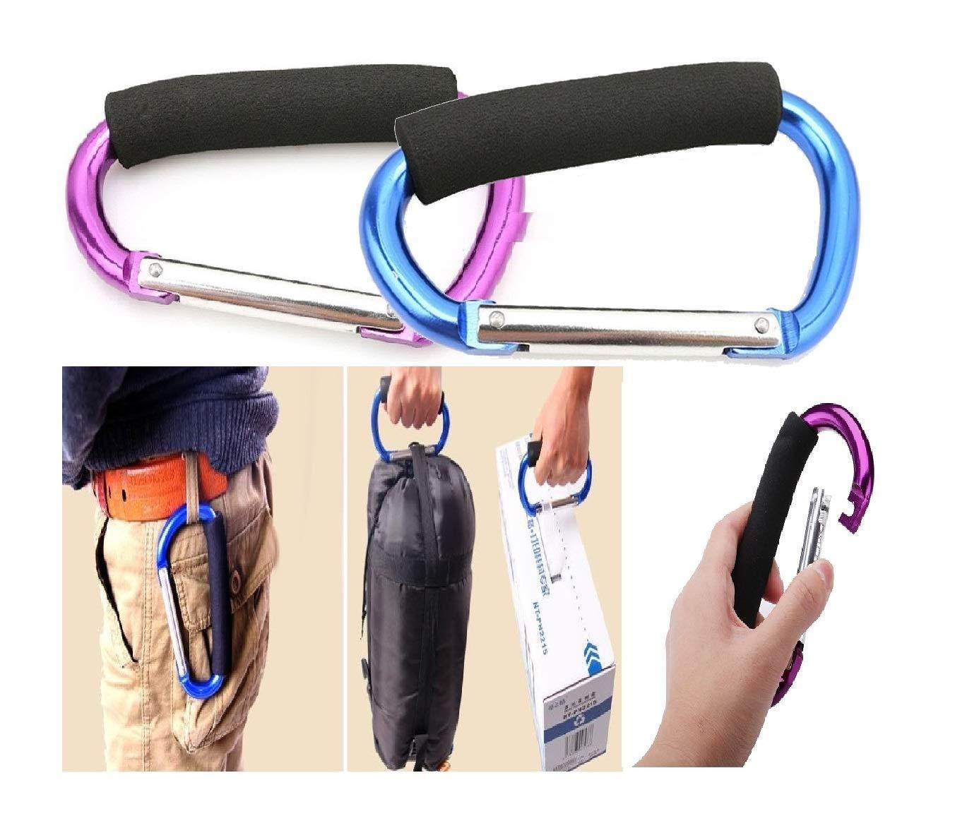 Stroller Hook - 4 Pack of 360 Degree Swivel Stroller Carabiner Hooks - Hanger Clips for Baby Diaper Bags, Shopping Bags, Purse - Great Hook Set for Mommy When Walking or Shopping Newraturner