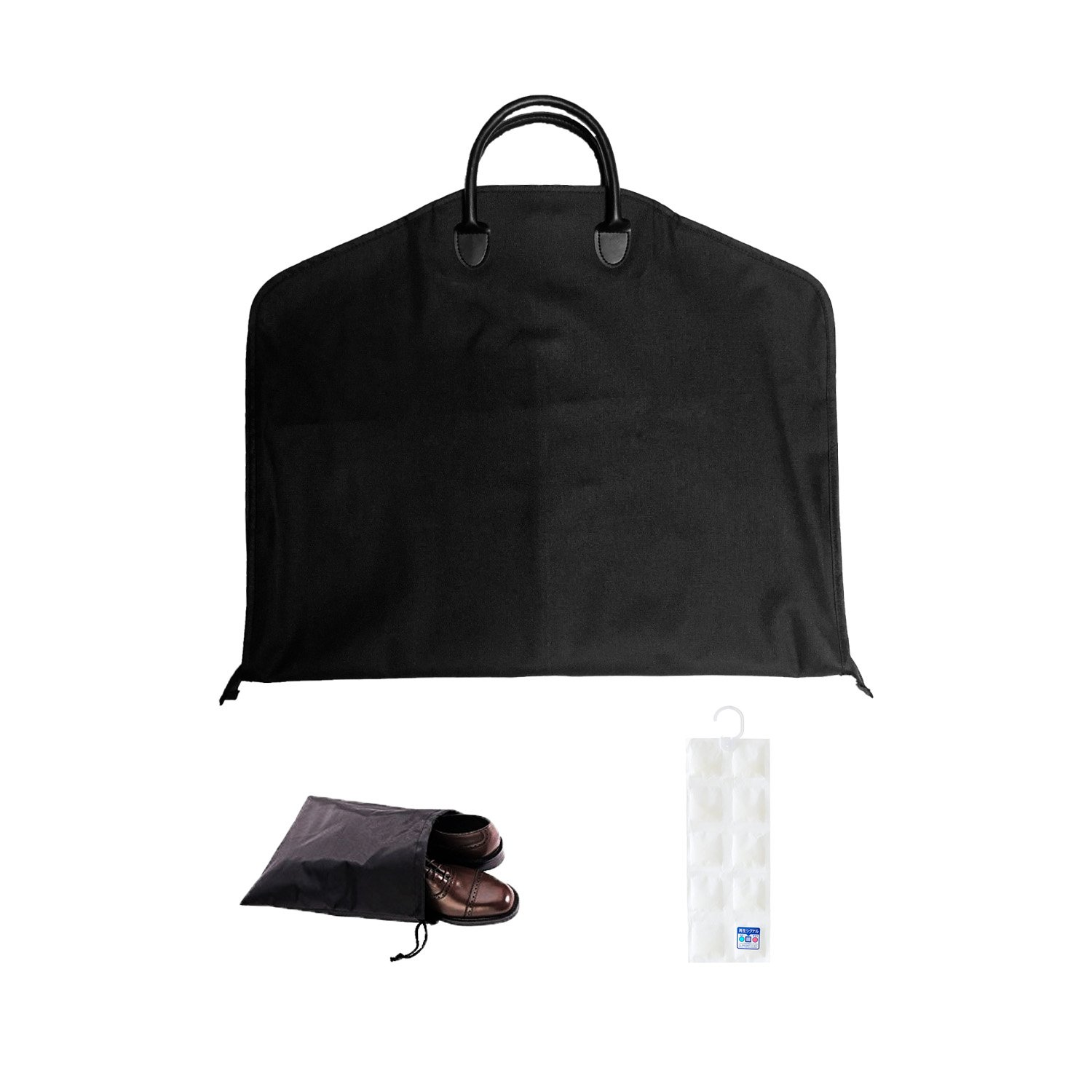 43'' Garment Bags, Waterproof Oxford Suit Carrier Bag with leather handle for trip