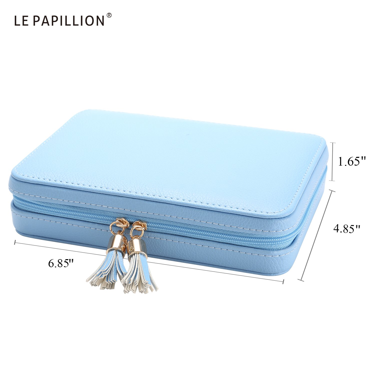 LE Papillion Small Jewelry Box Travel Jewelry Box Jewelry Travel Case Jewelry Organizer with Large Mirror, Gifts for Women, Great Gift Idea(Blue) by LE PAPILLION JEWELRY (Image #5)