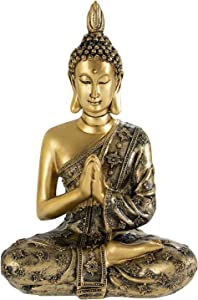 YINASI Sitting Buddha Statue, Antique Handmade Resin Meditating Seated Buddha Blessing Statue Figurine with Hands Together Decoration for Tabletop Desk Living Room Bedroom Office Hotel